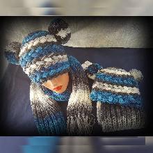 Дамски к-т Шапка 2 уши и шал Handmade. Плетена шапка и шал. Шапка и шал ръчна изработка. Комплект оригинален
