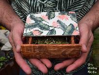 Дървена Сватбена кутия за халки пръстени с тропически дизайн, кутия за бижута