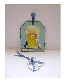 Дървено тагче - картичка с име - обемни букви от МДФ
