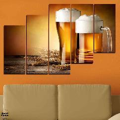 """Декоративно пано за стена от 5 части - """"Наздраве с пенлива бира"""" - HD-976"""