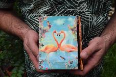 Фламинго Сватбена кутия книга подарък за халки пръстени, бижута с тропически мотиви