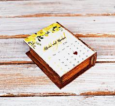 Флорална Сватбена дървена кутия, сватбен подарък за двойка, кутия календар за халки