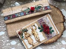 Картичка и плик за сватба с народни мотиви