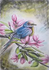 """Картина """"Птичка върху прасковена клонка"""""""