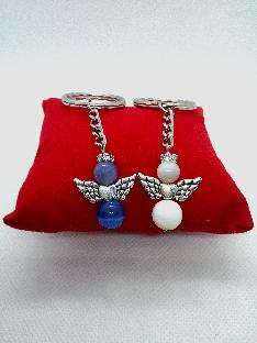 Ключодържател с ангел от полускъпоценни камъни- ахат,котешко око и седеф за Св.Валентин за нея и него