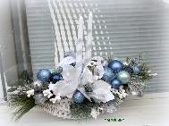 Коледен свещник със заскрежени магнолии