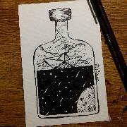 Корабче в бутилка (Пощенска картичка)