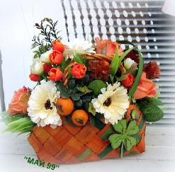 Кошничка с цветя за първия учебен ден