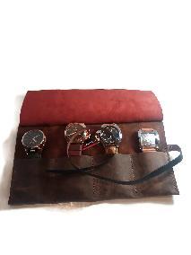 Кожено руло за часовници , Travel watch roll,  Schmuckrolle leder