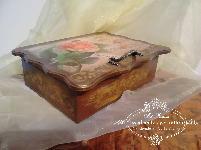 Кутия за бижута - Roses Time tea, decoupage