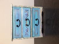 Кутия за бижута и аксесоари, тюркоаз, нова, ръчно рисувана