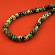 Зелен ахат шарен топчета 10.3 мм - естествени камъни наниз от 37 броя