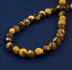Жълт ахат шарен топчета 10.3 мм - естествени камъни мъниста за връзка от 37 броя