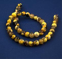 Мъниста жълт ахат шарен естествени камъни 8 мм - наниз от 48 броя