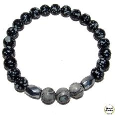 Мъжка гривна от естествени камъни Обсидиан и Яспис - DM-2438