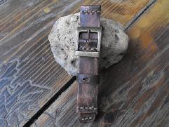 Мъжка верижка за часовник. Каишка за часовник от естествена кожа с бронзова катарама