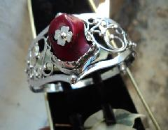 модел 257  Изработена от масивно сребро Сребърна гривна с надеждна закопчалка 1 бр   камъка червен корал