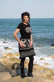 """Оригинална, ръчно плетена рокля с нордически мотиви от колекция """"North Island"""""""