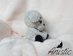 """Плетено кученце """"Съни"""", цветове - сиво и черно"""