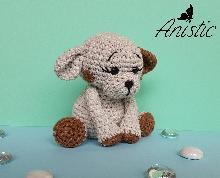 """Плетено кученце """"Съни"""", цветове - сиво и кафяво"""