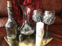 Празничен комплект от 5 части за вино в сребро