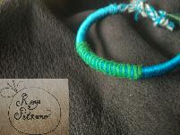 Ръчна изработка гривна в зелено и синьо