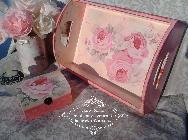 Ръчно декориран  комплект COUNTRY ROSES- Shabby Chic, Decoupage