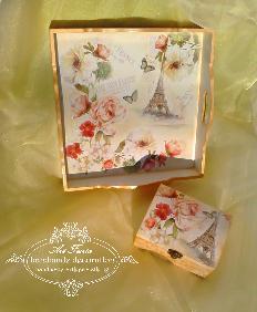 Ръчно декориран  комплект Fleurs- Bonjour Paris, Decoupage