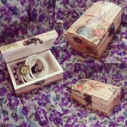 Ръчно декорирана кутия за бижута (тип сандъче)
