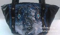Ръчно изработена чанта-ест.кожа и деним
