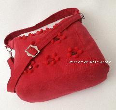 Ръчно изработена чанта от червен деним
