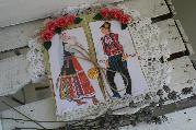 Ръчно изработена картичка с фолклорни мотиви за сватба