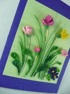 Ръчно изработена поздравителна картичка - Лалета