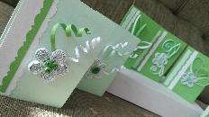 Ръчно изработени картички, зелени, квилинг
