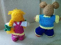 Ръчно плетена кукла играчка Маша и мечока