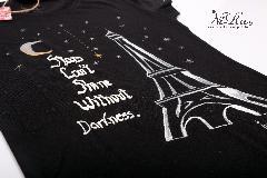 """ръчно рисувана дамска тениска - """"Darkness"""""""