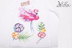 """ръчно рисувана дамска тениска - """"Flamingo"""""""