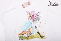 """ръчно рисувана дамска тениска - """"Golden Retriever & Girl with flowers"""""""
