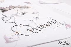 ръчно рисувана дамска тениска - Think like a Queen!