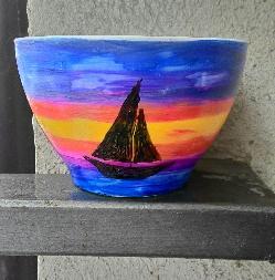 """Ръчно рисувана купа """"Тропически залез"""""""