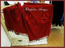 "Рисуван шал ""Макове в бордо"""