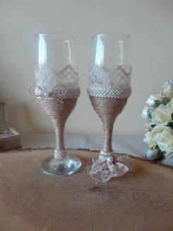 """Ритуални чаши и шампанско в стил """"Винтидж"""""""
