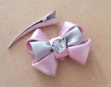 Шнола с 3D панделка в розово и сиво