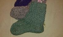 Синьо-зелени плетени чорапи тип ботуш