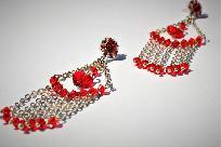 Сребърни висящи обеци в червено