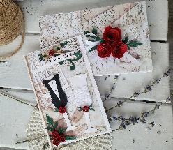 Сватбена Картичка ръчна изработка и плик за пари
