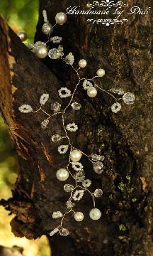 сватбена украса за коса, ръчно изработен булчински аксесоар