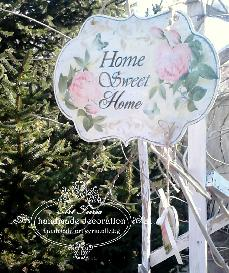 Табелка  HOME SWEET HOME, Roses botanique , Shabby Chic, Vintage, Decoupage