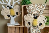 Текстилна пеперуда - десен бежово, жълто и черно- декорация за завеса