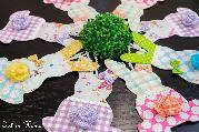 Текстилно зайче с панделка и розичка - висяща декорация
